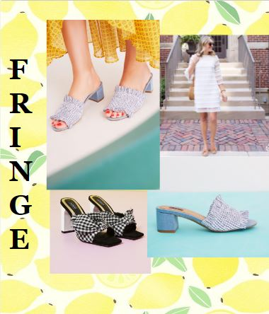- Fringe is a trend that hit the fashion world by storm and isn't going anywhere anytime soon. It's easy to add elements of fringe to make any outfit instantly beachside boho-chic. For example, toss on a pair of raw-edged white jeans, or slip into these adorable Stitched Stripe Block Heel sandals by Jaggar and your look will instantly become fresher, freer, and more fun! Fan of the fringe but want to keep it understated? Try our stunning Sail to Sable White Fringe dress with a pair of platinum Jack Rogers sandals for a more classic interpretation of this funky trend.