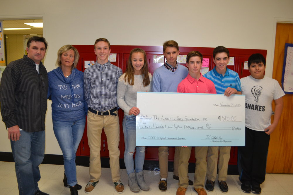 IC Catholic Prep - On November 7, 2015, IC Catholic Prep holsted its Annual Dodgeball Tournaments for area 7th and 8th graders. They donated $515.00 to Amazing Annie.