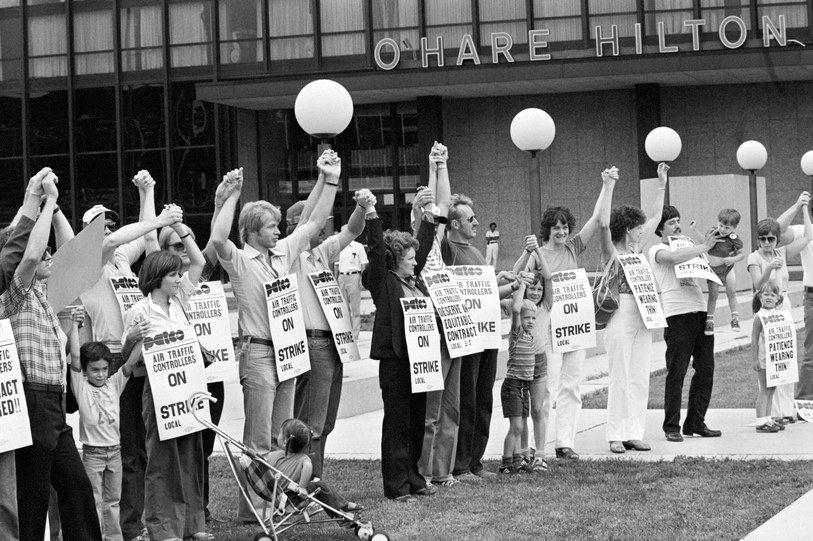 In recent decades, anti-union efforts have not focussed overtly on race but on resentment toward public-sector workers, such as air-traffic controllers fired by the thousands by Ronald Reagan.   Photograph from Bettmann / Getty via The New Yorker