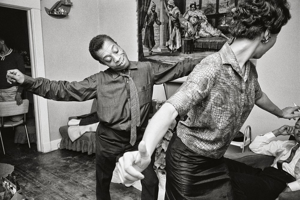 James Baldwin    in Harlem, 1963. Photo by Steve Schapiro.    Practising self-care can be as free & freeing as dancing like the prolific James Baldwin above to your favourite song. If touching is too intimate or difficult of a start, start with dancing to connect with your body.