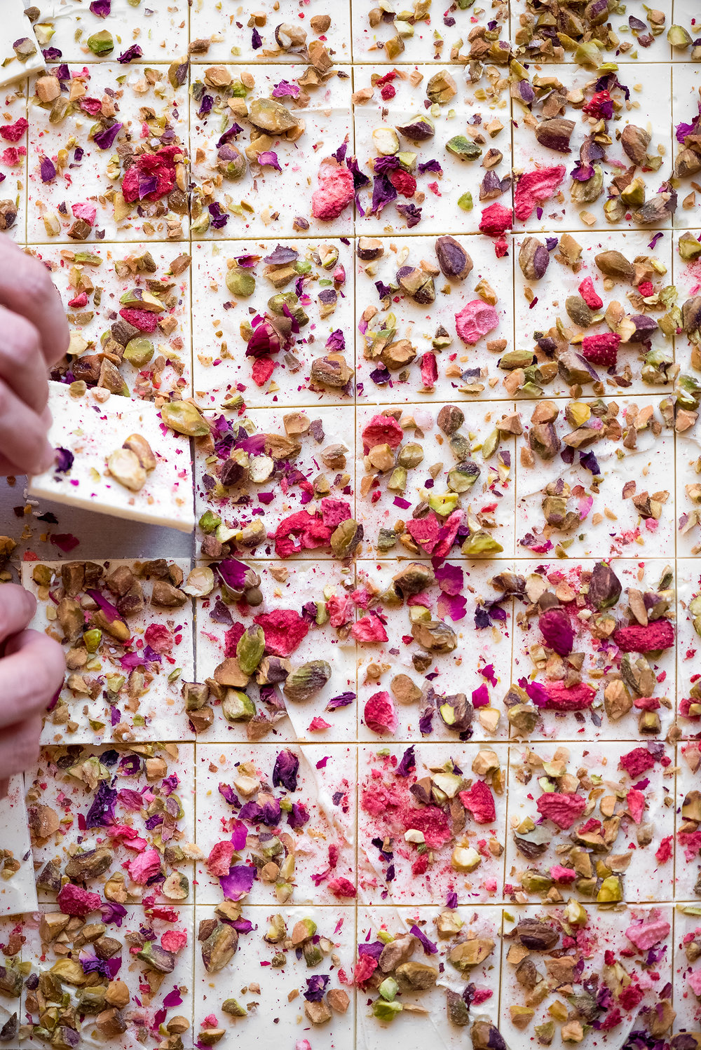 Rose and Pistachio White Chocolate Bark from  Now, Forager