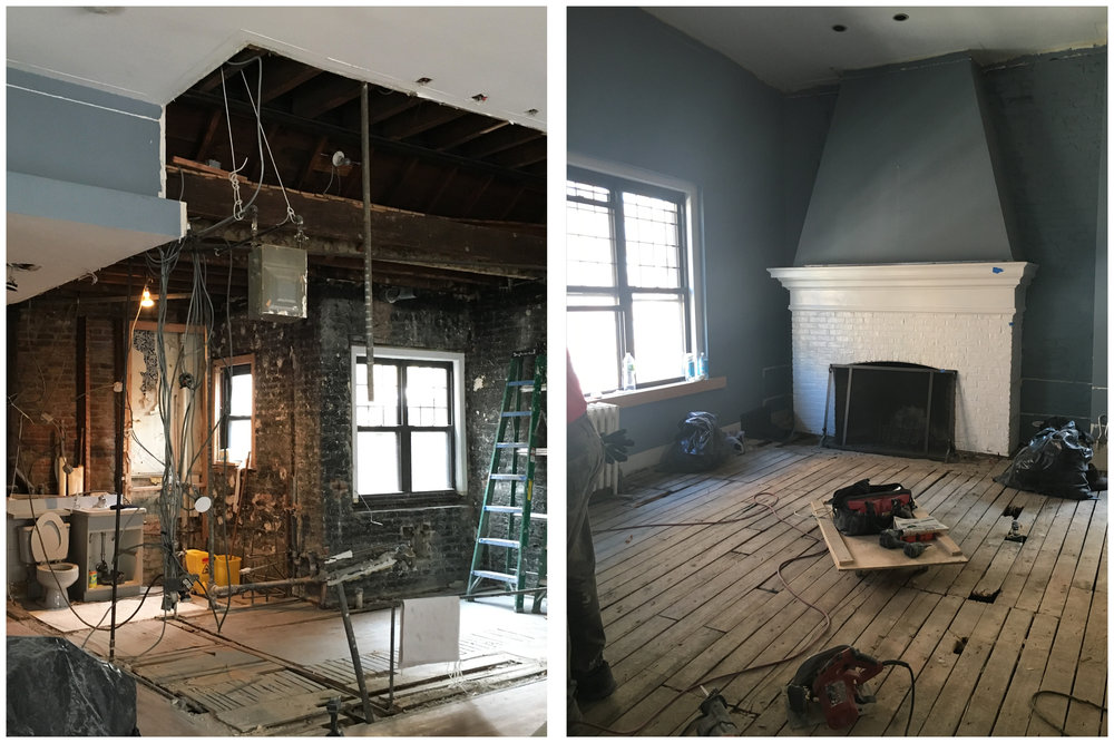 The entrance area of the loft during the renovation, which would include creating a new bathroom, a second bedroom, and a hallway filled with closet space. And the original wood-burning fireplace.