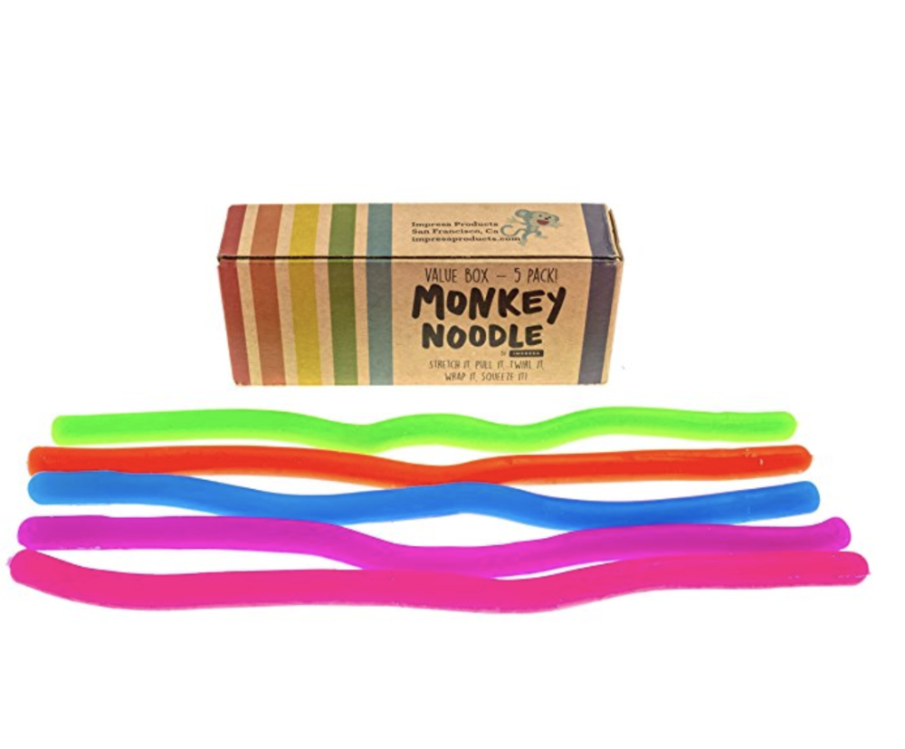 These  monkey noodles  are great they are soft, stretchy sort of fidget toys. They twist, turn and the bright colors are fun. They're really is no special light or sound or anything with pizzaz- they're super simple and sometimes simple works best.