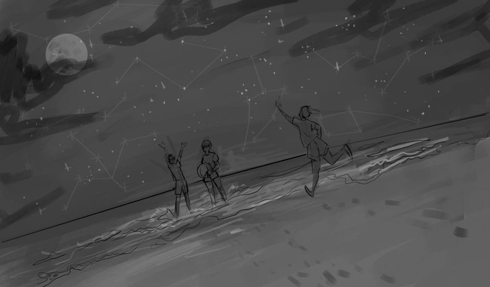 Photoshop sketch of three friends at the beach