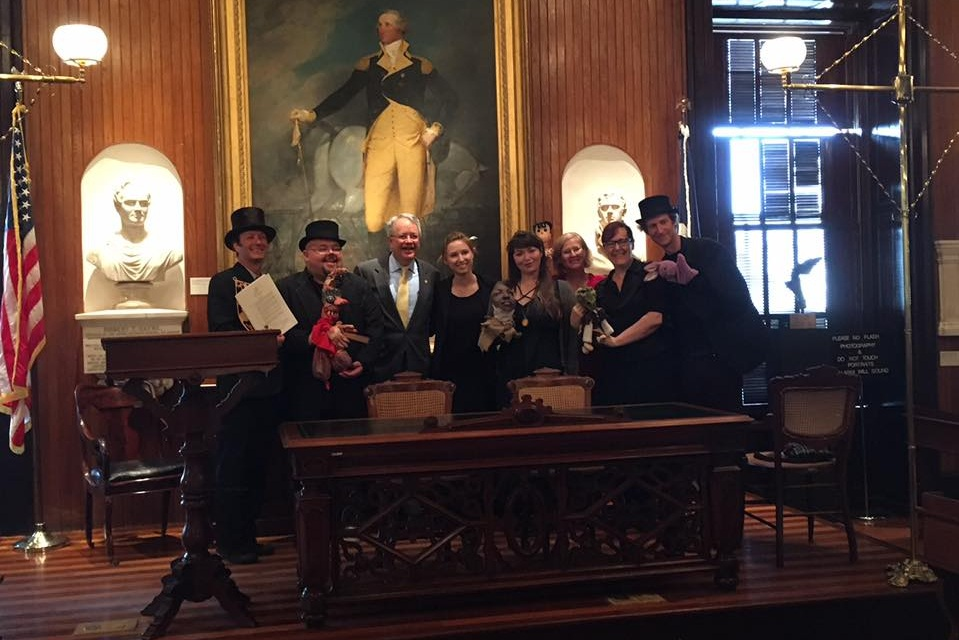 Charleston Day of Puppetry 2017 - The Charleston Guild of Puppeteers meets with Mayor John Tecklenburg in Charleston City Hall for the official proclamation of Charleston Day of Puppetry! March 21st, 2017.