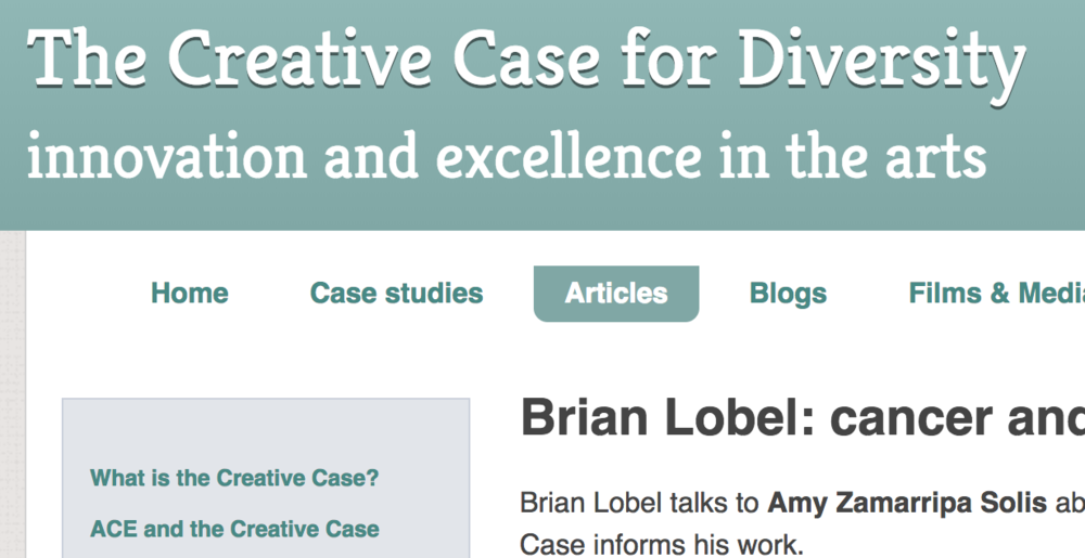 The Creative case for diversity - 2013 interview with Brian about how The Creative Case informs the work.