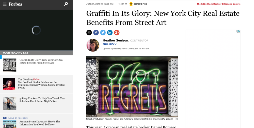Article on  FORBES  about the gentrification of neighborhoods and the role that street art and graffiti play in its development. Adam wishes the author would have addressed the damage street art can do to the demographics of the neighborhoods as well as making it beautiful.
