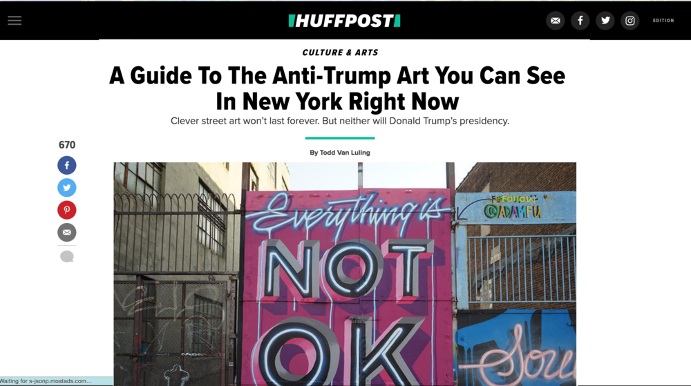 Todd Lulings article for  HUFF POST  on the protest piece Adam and @dirtybandits painted in response to a myriad of current events in the US.
