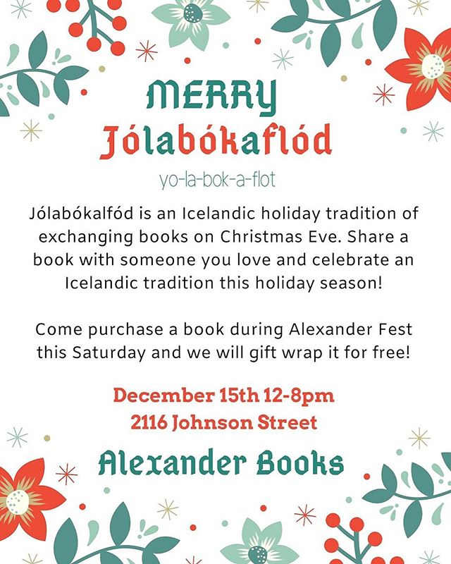 Alexanderfest is happening this Saturday Dec.15 from noon till 8 pm! Come celebrate Jolabokaflod with us! . . . #christmas #lafayette #chocolate #cozy #alexanderbooks #scio #sciodesign