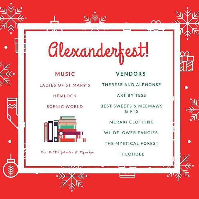 We're so excited to have so many great artists coming to Alexanderfest this weekend! Come enjoy great music and buy some beautiful gifts at Alexanderfest! . . . #lafayette #christmas #alexanderfest #localbands #localvendors #thatlacommunity