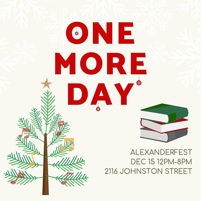 One more day!!! Alexanderfest is happening tomorrow and we hope to see you there! . . .  #lafayette #christmas #holidays #alexanderfest #scio #alexanderbooks