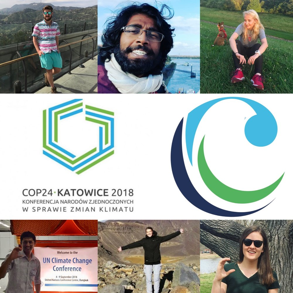 Care About Climate COP24 Delegation, pictured, left to right:   Top : Nick Jones* (USA); Amalen Sathanthar (Malaysia); Sydney Welter (USA)  Bottom : Pradeep Bhattarai (Nepal); Nora Wissner (Germany); Sabina Maniak* (USA)   *Delegation Leadership