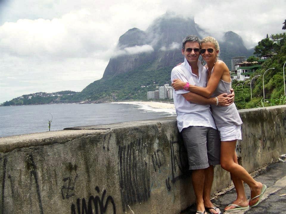 Con María Battaglino, su mujer, en Río de Janeiro.