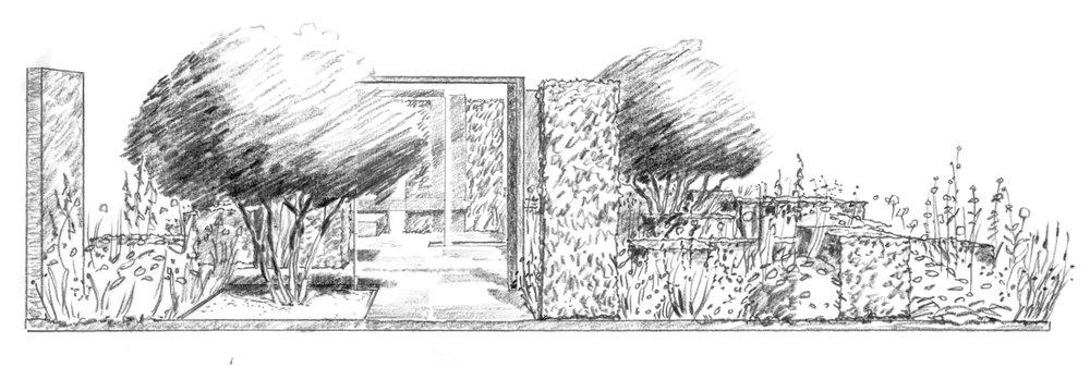 modern rose garden and colonnade colm joseph.jpg