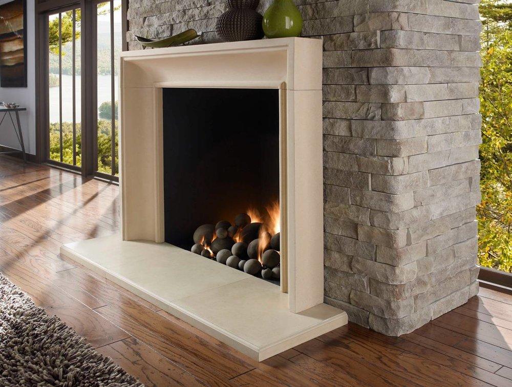 Stone Veneer Fireplace -