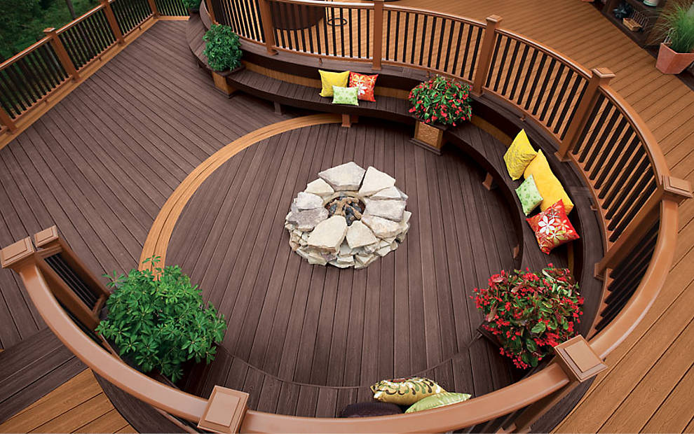 Deck Design with Seating, and Fire Pit