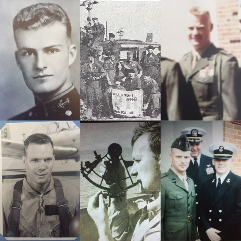 Clockwise from Top Left: Captain Larry L. Davis (Grandfather) at graduation from US Coast Guard Academy, Father's Vietnam helicopter squadron, Lt. Greg Alexander USMC (Brother), Midshipmen Ken Alexander at brother's first salute ceremony with father, Commander George Alexander Sr. (Grandfather) in Pacific during WWII, and Commander George Alexander (Father) at flight school in Pensacola.