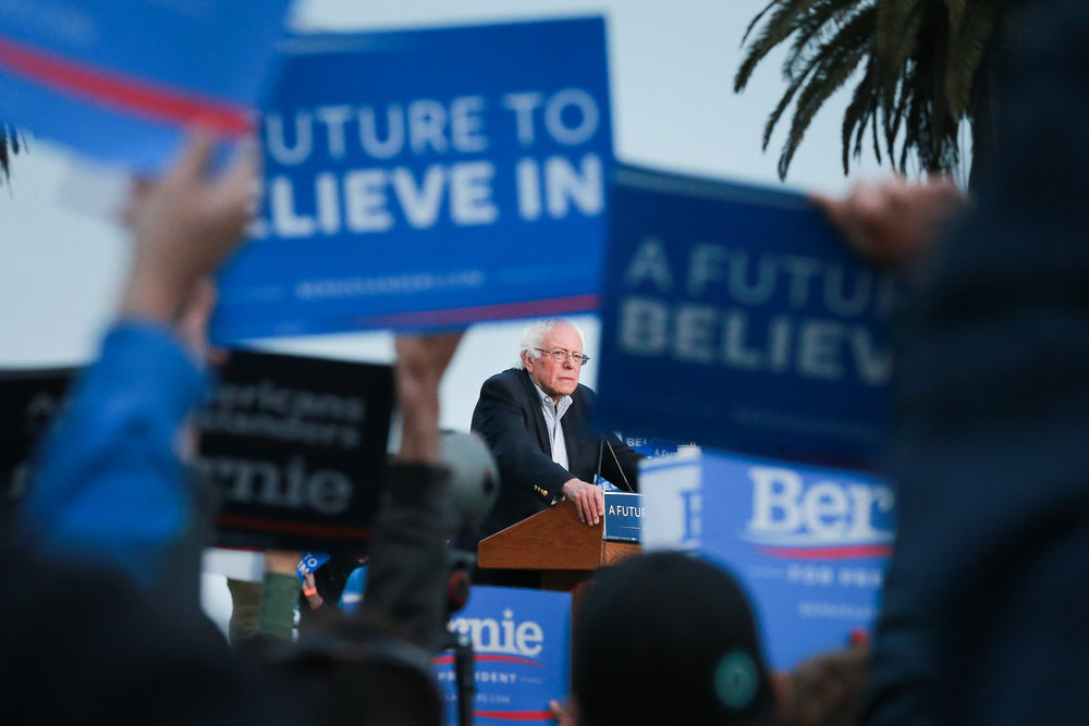 U.S. Sen. Bernie Sanders is seen at a campaign stop in San Francisco, California