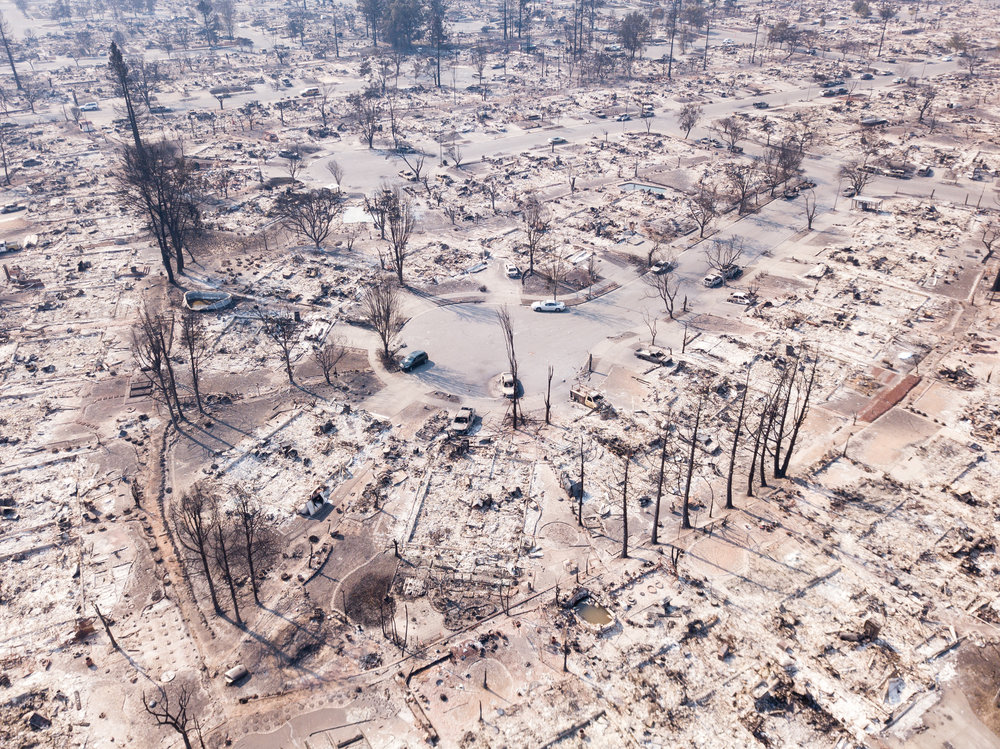 The remains of homes in the Coffey Park neighborhood are seen from the air in Santa Rosa, California