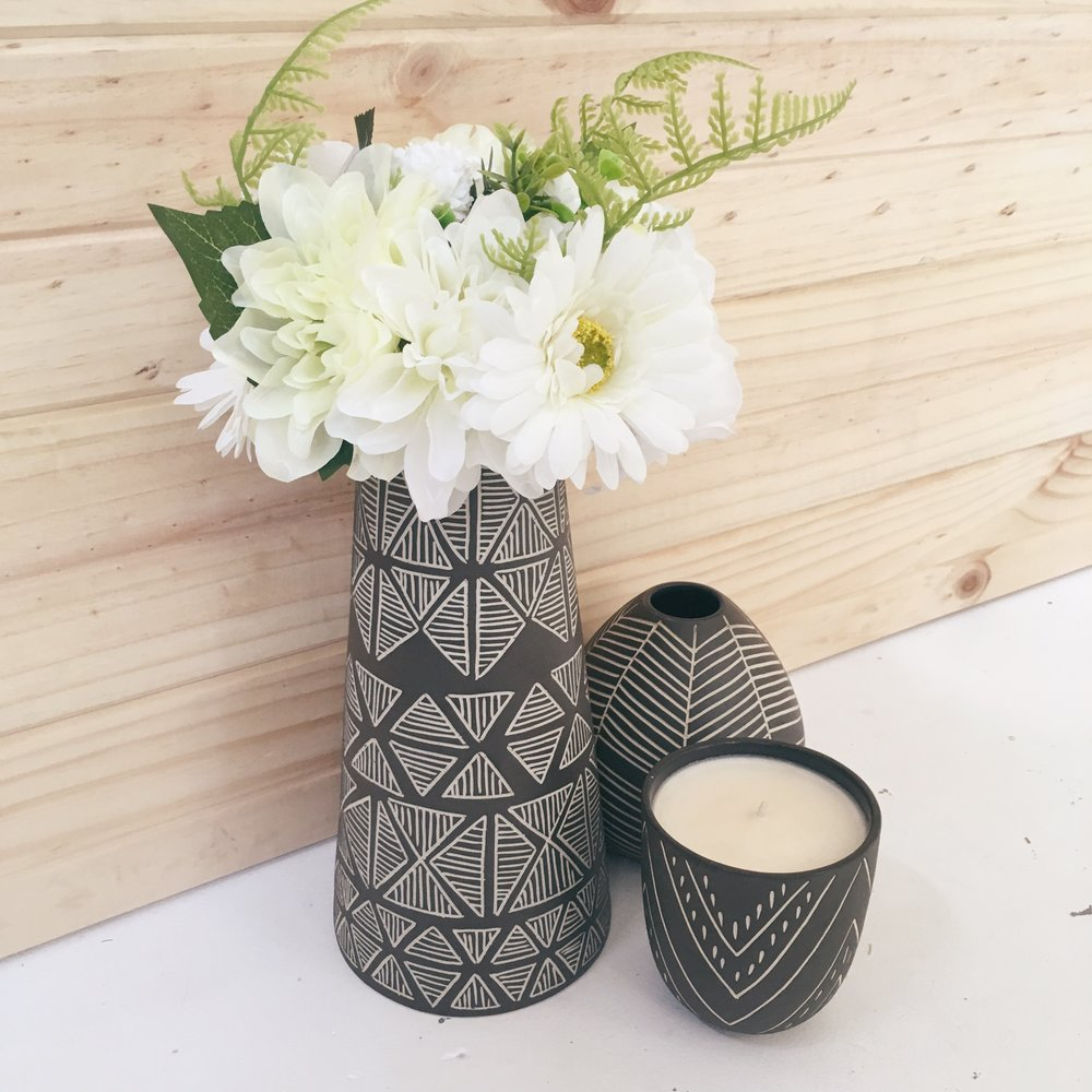 Koa Tall Vase, Droplet Vase & Tall Cup with Soy Candle. All shown here in Charcoal.