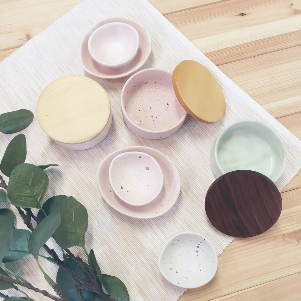 A selection of trinket dishes in sets or with timber lids in Huon Pine & Tasmanian Blackwood
