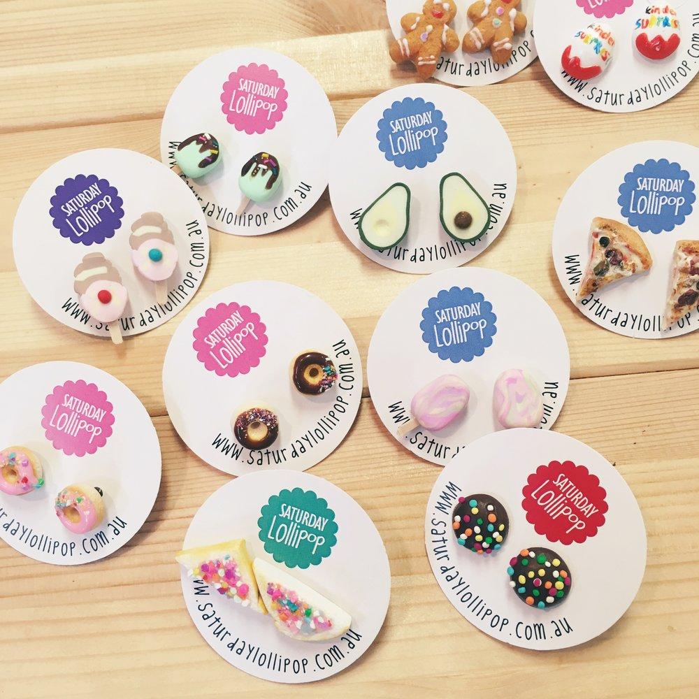 A range of earrings from Saturday Lollipop.