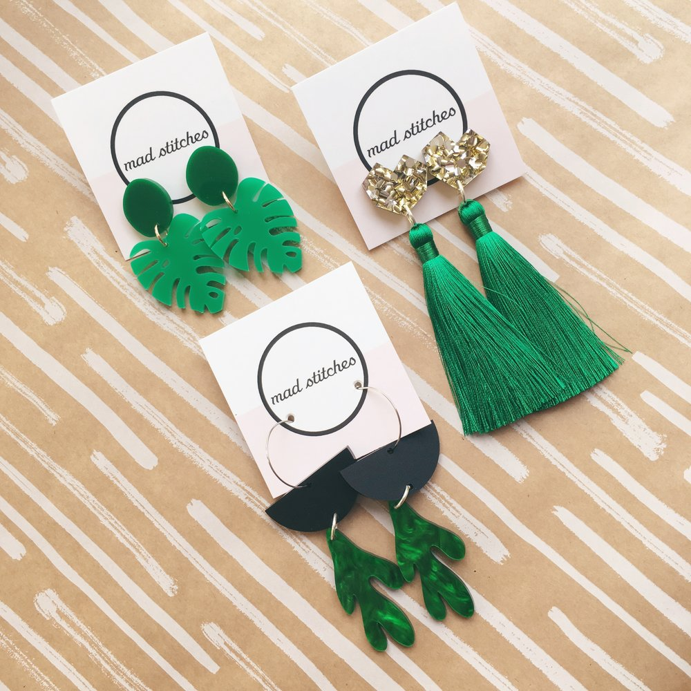Green tassels & sparkles. Dangly earrings by Mad Stitches.