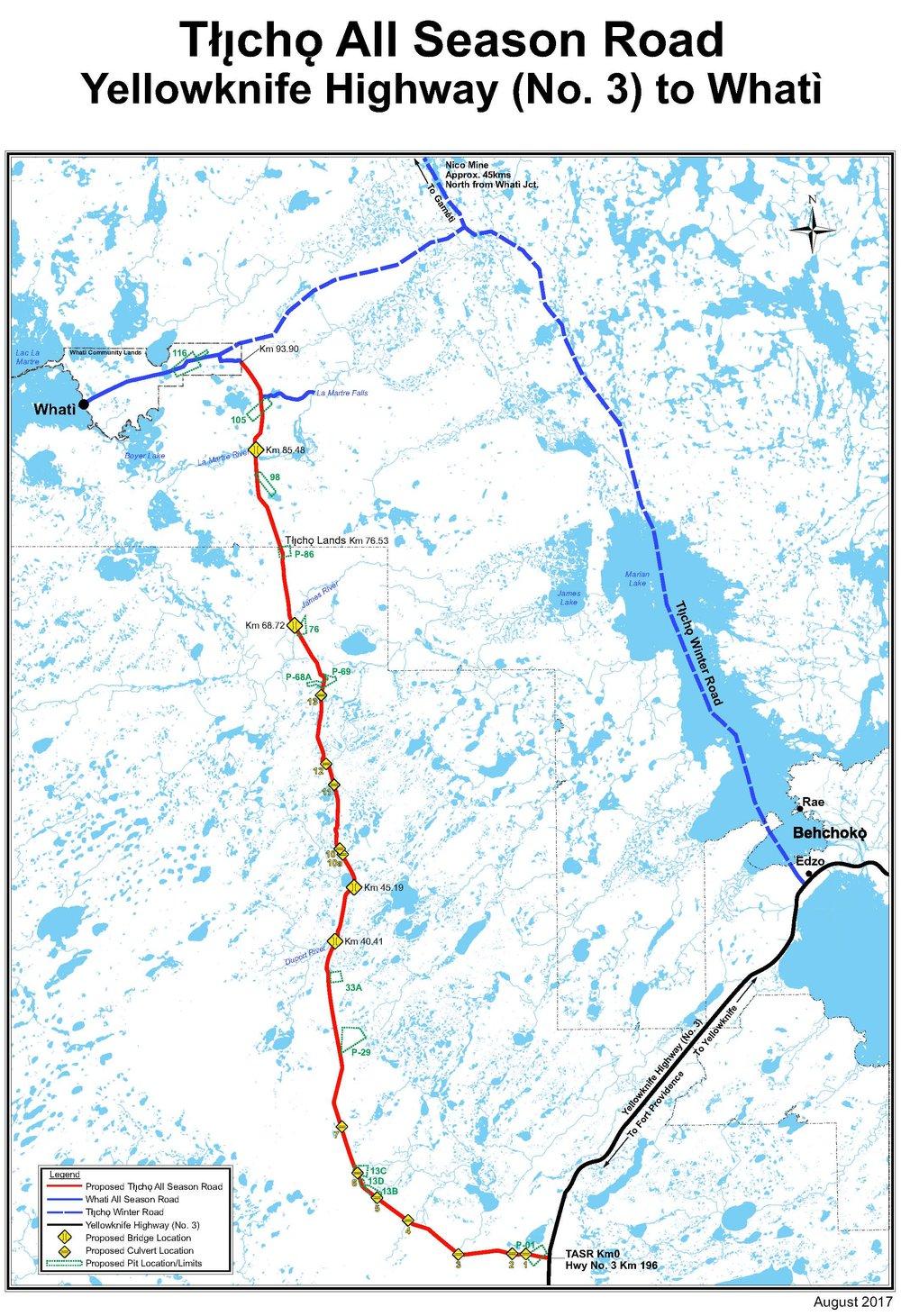 Map of the  TłıchǫAll Season Road