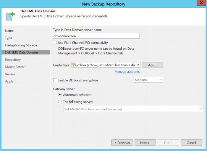 Make sure DNS is all working before filling up the FQDN &punch in credentals
