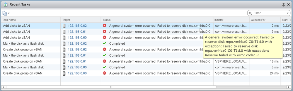 Failed to reserve disk error
