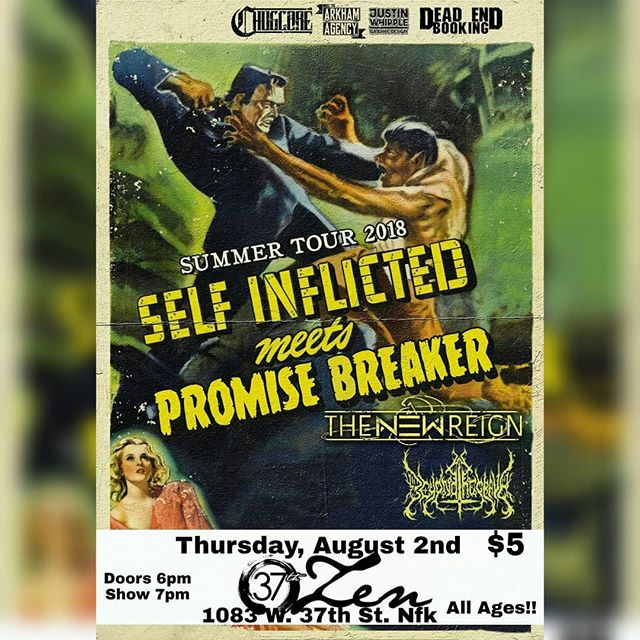AUGUST: 08-02 We're heading out to Norfolk, VA to throw down with  Self Inflicted & Promise Breaker 08-11 Is the 6th Annual Inn It For The Kids at Cafe 611 in Frederick, MD!! #metal #metalcore #37andzen #cafe611 #deathcore #djent