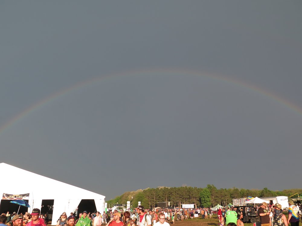 Rainbow over the Vibe Tent and Camping Stage