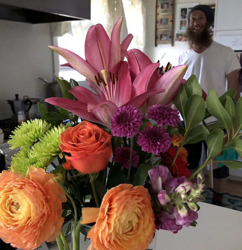 Husband Josh and a gorgeous flowers for Mother's Day (May 2018)