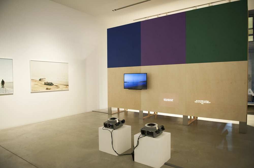 Load Displacement  , as part of the show  The Ocean After Nature  at Parsons New School, New York, 2018 Installation view with a video and two dissolving slide projections, 2012.  https://vimeo.com/46847882