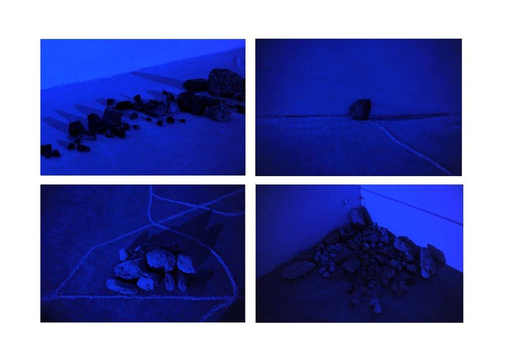 Intimacies (Mediterranean Civilization) , 2017, details: obsidian stones, limestone fossil. pumice stones