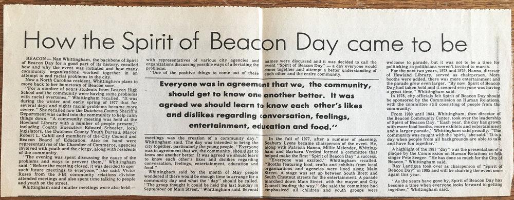 Beacon Evening News 1986, courtesy of the Beacon Historical Society