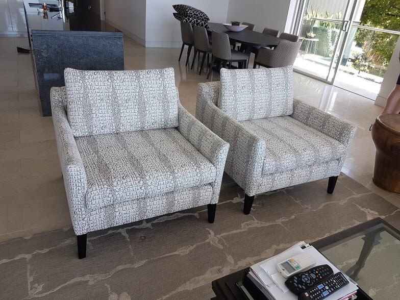 Pair of Dresser chairs with custom stained Victorian Ash legs.  Karen Gordon Interiors