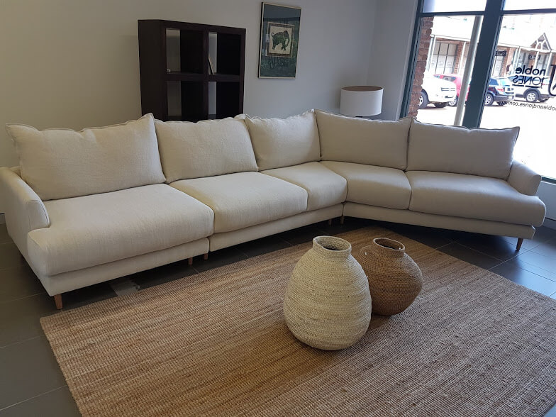 Open ended modular with wrap seat & French seam back cushions Rossetti Linen H&K