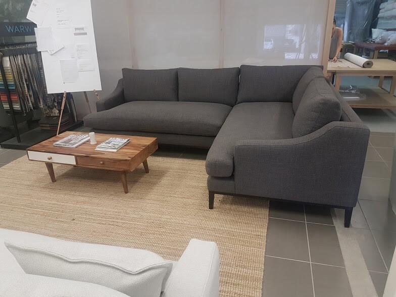 Bespoke bench seat T-cushion Loft modular with Victorian Ash base.  Marco Meneguzzi Design