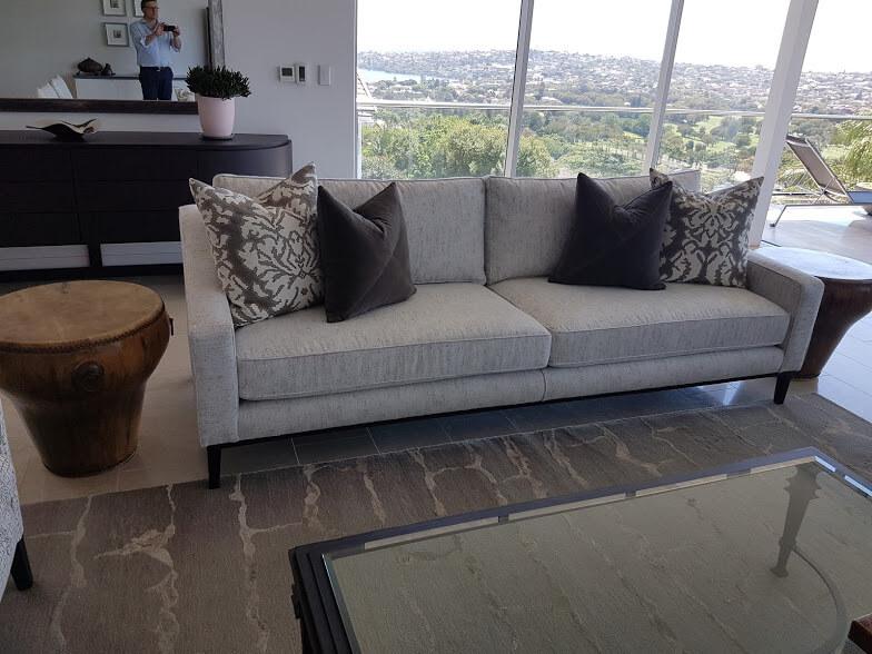 Bespoke Loft Sofa 260 x 100 x 95cm. Full Victorian Ash Base.  Karen Gordon Interiors
