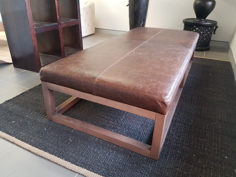 Bespoke leather bench with full Victorian Ash base, custom stain