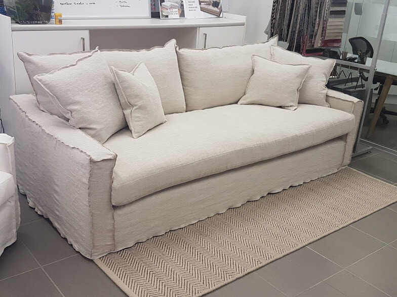 Karen 3.5 seater sofa with inside out stitch  Karen Gordon Interiors