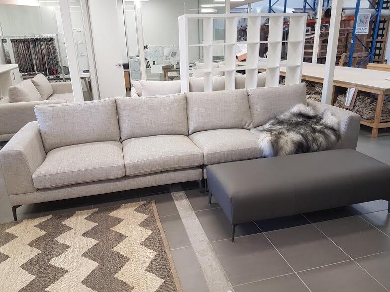 Lisa 4 seater sectional sofa & Lisa full grain leather ottoman.  Lisa Stein Interiors