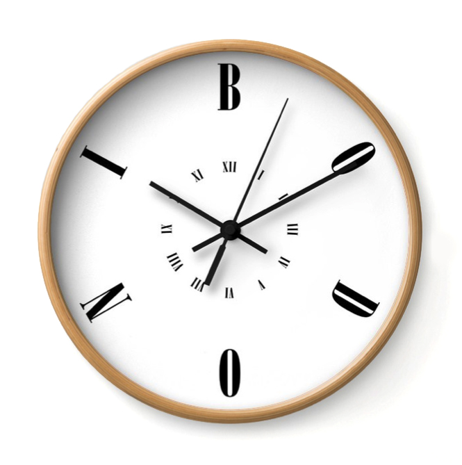 BODONI   This Timeless Type clock was made in the image of the great Giambattista Bodoni.