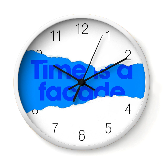 TIME IS A FACADE   This clock has a secret to tell. Its face is a veneer masking the underlying veneer of time.    Buy Online