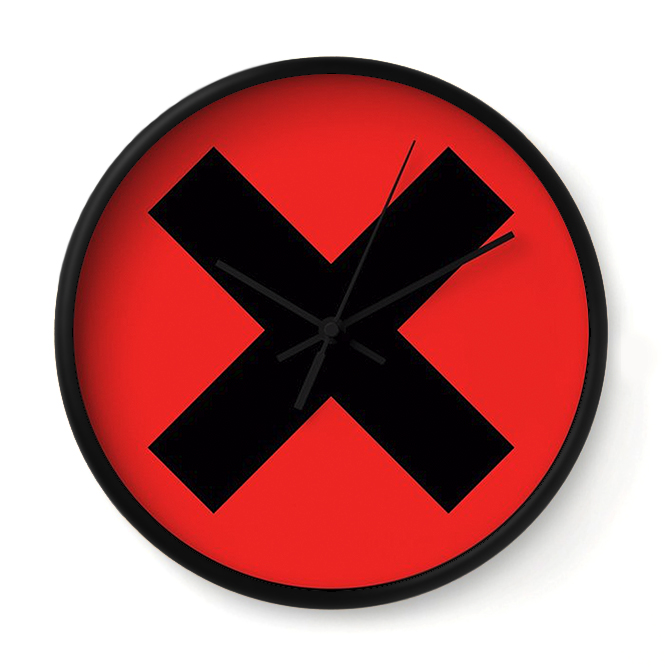 "X - SIMPLE ON RED   Like a man of few words, this clock keeps it simple and sweet. It says ""No"" and then keeps on moving."