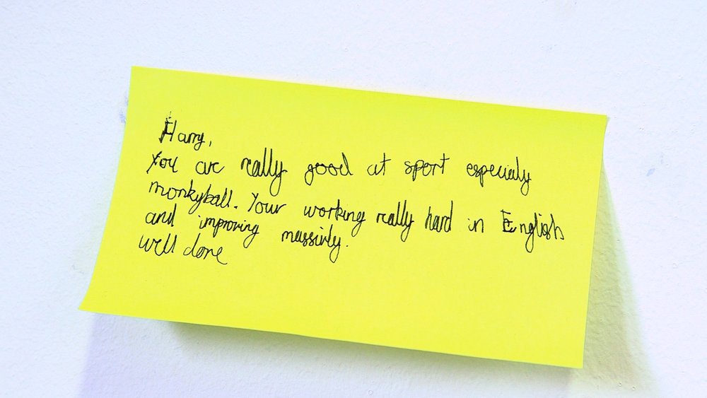 A post-it note to Harry from his classmates
