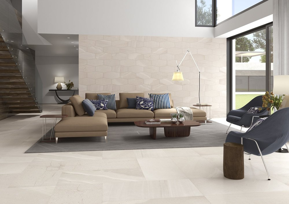 Stone Cut Hex Tiles in Living Room from Tile Mountain.jpg