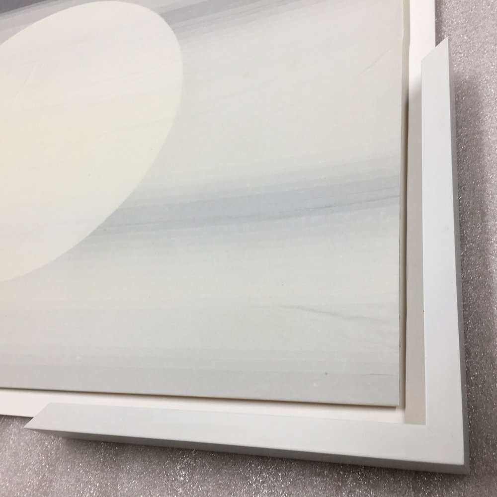 Moon Floating (Framed detail)   Tissue on paper, 51cm x70cm, 2015