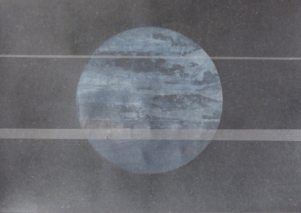 Moon  Transition, paint and tissue on paper, 51cm x 70cm, 2015